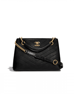 Chanel Black Calfskin:Elaphe Chevron Chic Small Shopping Bag