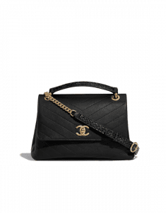 Chanel Black Calfskin:Elaphe Chevron Chic Small Top Handle Bag