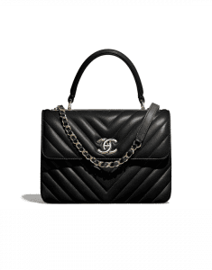 Chanel Black Chevron Trendy CC Small Top Handle Bag