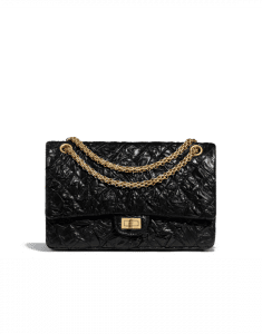 Chanel Black Crumpled Calfskin 2.55 Reissue Size 226 Bag