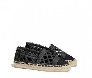 Chanel Black Fabric/Grosgrain Perforated Espadrilles