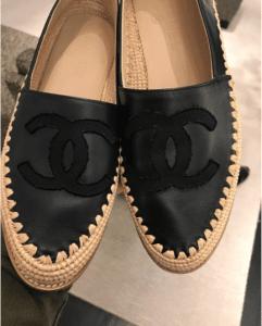 Chanel Black Lambskin/Grosgrain Espadrilles 2
