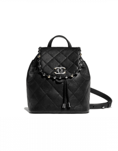 Chanel Black Metallic Bubble Backpack Bag