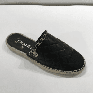 Chanel Black Quilted Calfskin Espadrilles