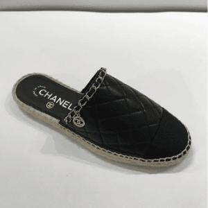 Chanel Black Quilted Calfskin Espadrilles