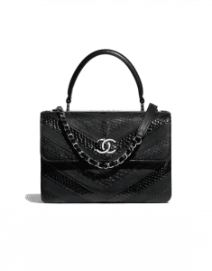 Chanel Black Sheepskin/Water Snake/Calfskin Chevron Trendy CC Small Top Handle Bag