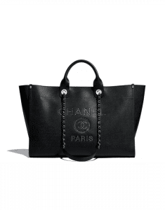 Chanel Black Studded Calfskin Deauville Large Shopping Bag