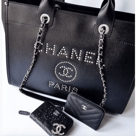 5991df410e7a Chanel Black Studded Calfskin Deauville Medium Shopping Bag 2. IG   laulayluxury