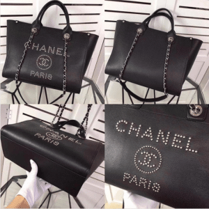 Chanel Black Studded Calfskin Deauville Medium Shopping Bag