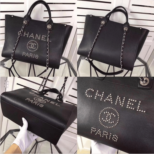 7b78fe43b2a8 IG  laulayluxury. Chanel Black Studded Calfskin Deauville Medium Shopping  Bag. IG  he512monica