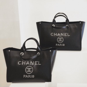 Chanel Black Studded Calfskin Deauville Medium and Large Shopping Bags