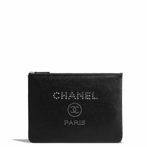 Chanel Black Studded Calfskin Deauville Pouch Bag