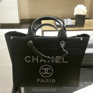 Chanel Black Studded Calfskin Deauville Small Shopping Bag 1