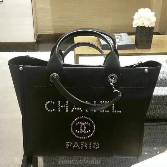 045ad9208276c3 IG: houseofadhi. Chanel Black Studded Calfskin Deauville Medium Shopping Bag  2. IG: laulayluxury