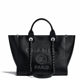 Chanel Black Studded Calfskin Deauville Small Shopping Bag