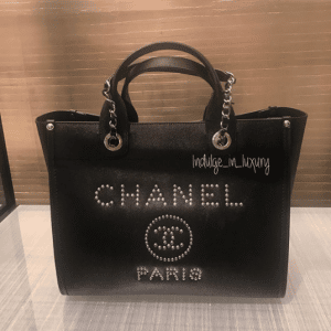 Chanel Black Studded Calfskin Deauville Small Shopping Bag 2