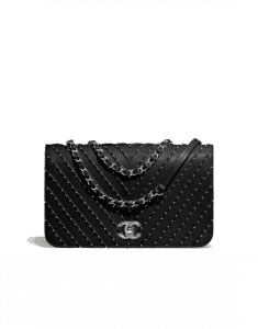 Chanel Black Studded Calfskin Medium Flap Bag
