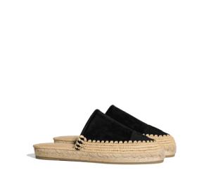 Chanel Black Suede Calfskin/Grosgrain Espadrille Slides