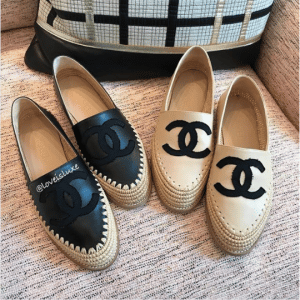 Chanel Black and Beige Lambskin/Grosgrain Espadrilles
