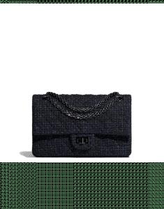 Chanel Black/Navy Blue Tweed 2.55 Reissue Size 225 Bag