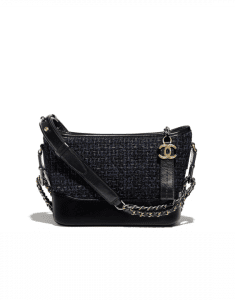 Chanel Black/Navy Blue Tweed/Calfskin Gabrielle Small Hobo Bag