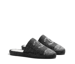 Chanel Black/Silver Tweed Espadrille Slides
