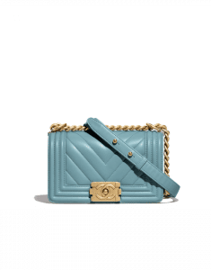 Chanel Blue Chevron Boy Chanel Small Flap Bag