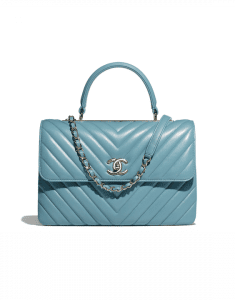 Chanel Blue Chevron Trendy CC Medium Top Handle Bag