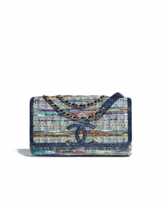 Chanel Blue Multicolor Tweed/Water Snake CC Filigree Medium Flap Bag