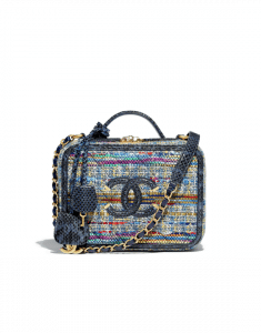 Chanel Blue Multicolor Tweed/Water Snake CC Filigree Medium Vanity Case Bag
