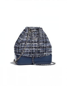 Chanel Blue/Black/Ecru/Silver Tweed/Calfskin Gabrielle Backpack Bag