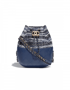 Chanel Blue/Black/Ecru/Silver Tweed/Calfskin Gabrielle Purse Bag
