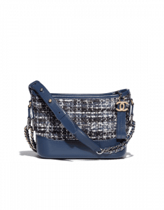 Chanel Blue/Black/Ecru/Silver Tweed/Calfskin Gabrielle Small Hobo Bag