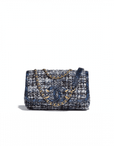 Chanel Blue/Black/Ecru/Silver Tweed/Water Snake CC Filigree Small Flap Bag