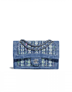 Chanel Blue/Green Cotton Tweed/Denim Medium Classic Flap Bag