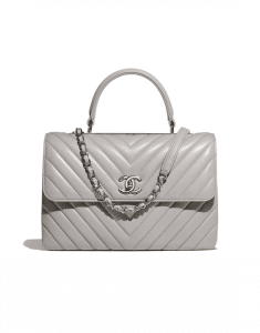 Chanel Gray Chevron Trendy CC Medium Top Handle Bag