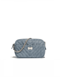 Chanel Gray Denim Chevron Reissue Camera Case Bag