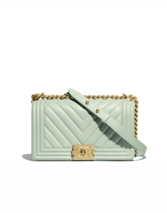 Chanel Green Chevron Boy Chanel Old Medium Flap Bag