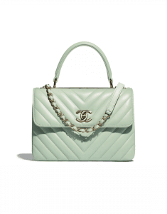 Chanel Green Chevron Trendy CC Small Top Handle Bag