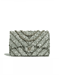 Chanel Green Sequin/Canvas Medium Classic Flap Bag