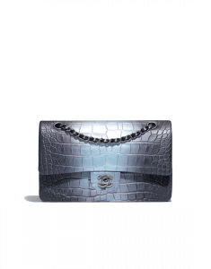 Chanel Green/Purple Alligator Medium Classic Flap Bag