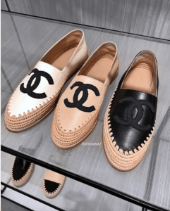 Chanel Ivory / Beige and Black Lambskin/Grosgrain Espadrilles