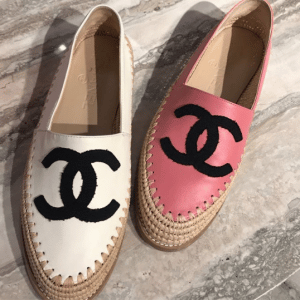 Chanel Ivory and Pink Lambskin/Grosgrain Espadrilles