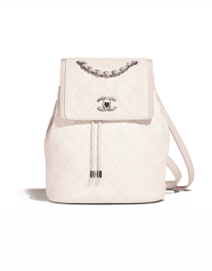 Chanel Ivory/Beige Grained Crumpled Calfskin Backpack Bag