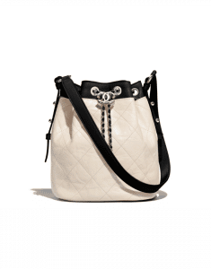 Chanel Ivory/Black Grained Crumpled Calfskin Drawstring Bag