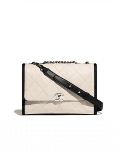 Chanel Ivory/Black Grained Crumpled Calfskin Flap Bag