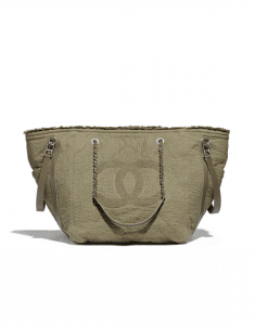 Chanel Khaki Fabric Double Face Medium Shopping Bag