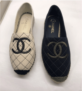 Chanel Light Beige and Blue Fabric Biarritz Espadrilles