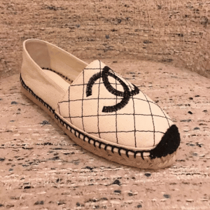 Chanel Light Beige/Black Fabric Biarritz Espadrilles