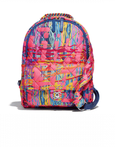 Chanel Multicolor Printed Fabric Foulard Backpack Bag